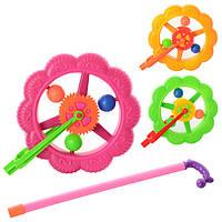 Каталка 189-1 (120шт) на палке 36см, колесо 18,5см, трещотка, 3 цвета, в кульке, 18,5-20-7см
