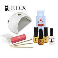 Стартовый набор для маникюра гель лаком FOX с гибридной лампой SUN6 UV LED 48 W ТМ F.O.X