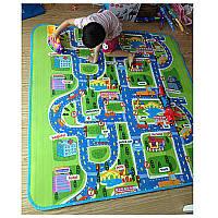 Теплый детский коврик большой 2м*1.6м, развивающий город дорога
