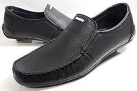 Мокасины-туфли   кожаные  мужские Growtn black  чёрные, пр-во ПОЛЬША