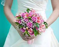 Роза розовая + альстромерия в свадебном букете