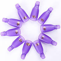 Набор клипс (прищепок) для снятия гель-лака, многоразовые 10 шт./уп., фиолетовые