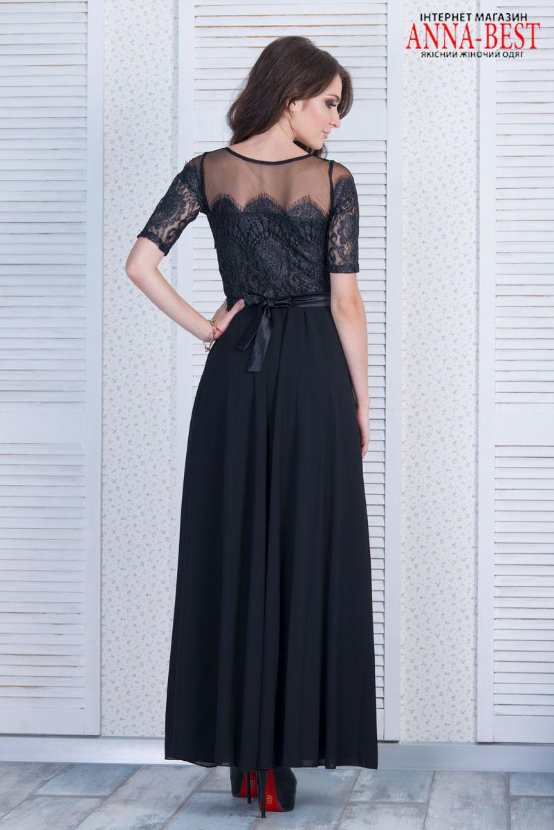25ddbffb368 Черное длинное вечернее платье с гипюром