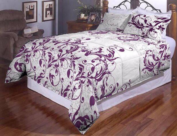 Сиреневые завитушки полуторное постельное белье Gold, фото 2