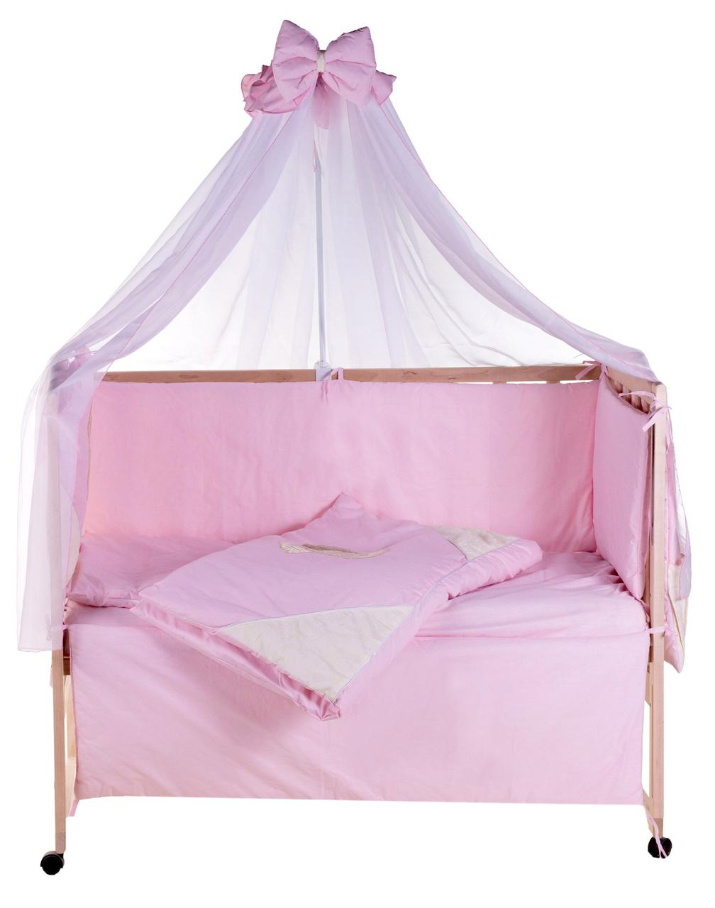 Постельный комплект в кроватку Qvatro Gold 8 элем. Розовая с Бежевыми вставками (Мишки с сердцем)