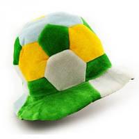 Шапка Футбольный мяч велюр желто зеленый