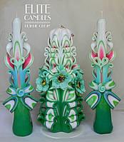 Свадебные свечи с цветами в оттенке Тиффани