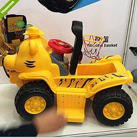 Электромобиль детский квадрацикл- толокар с баскетбольным кольцом и 3-мя шариками 606CB желтый