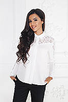 """Нарядная женская блуза-рубашка """"Zara"""" с гипюровыми вставками и длинным рукавом (3 цвета)"""