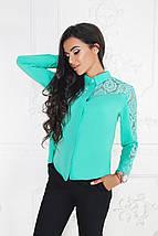 """Нарядная женская блуза-рубашка """"Zara"""" с гипюровыми вставками и длинным рукавом (3 цвета), фото 3"""