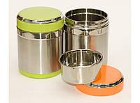 Термос для еды 1 л 2 отделения ланч-бокс пищевой, разные цвета