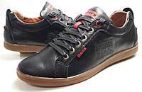Мокасины-туфли   кожаные  мужские Levis model М  черные пр-во ПОЛЬША