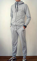 Серый мужской спортивный костюм кенгуру на змейке Nike (Найк)