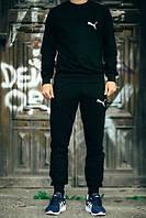 Черный мужской спортивный костюм реглан Puma (Пума)