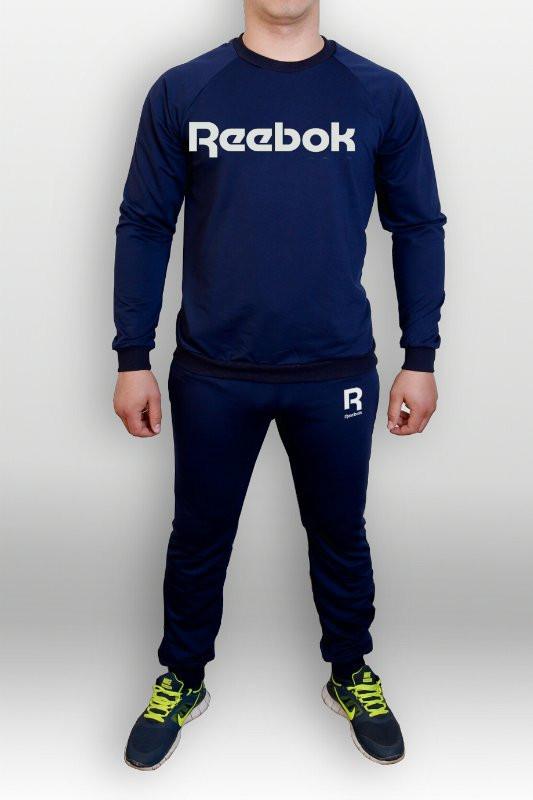 Синий мужской летний тренировочный костюм Reebok(Рибок)