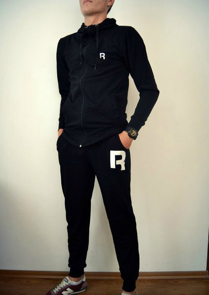 Черный спортивный мужской костюм кенгуру Reebok (Рибок)