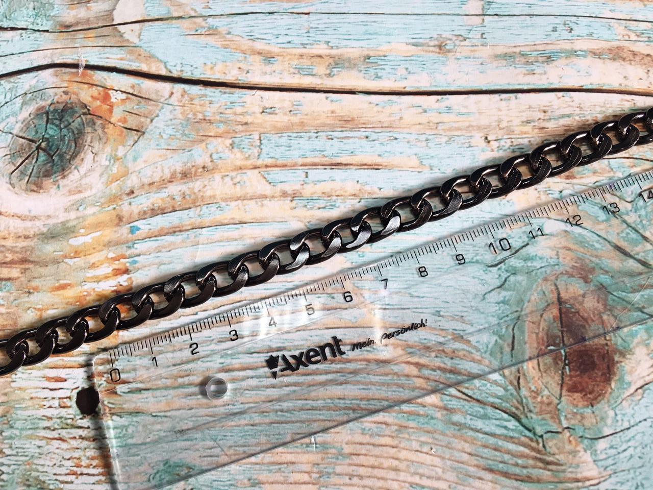 Цепочка для сумки, черное серебро, размер 2х12х8мм