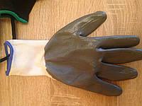 Перчатки нейлоновые с нитриловым покрытием, серые, гладкие