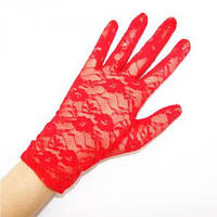 Перчатки гипюровые короткие красные