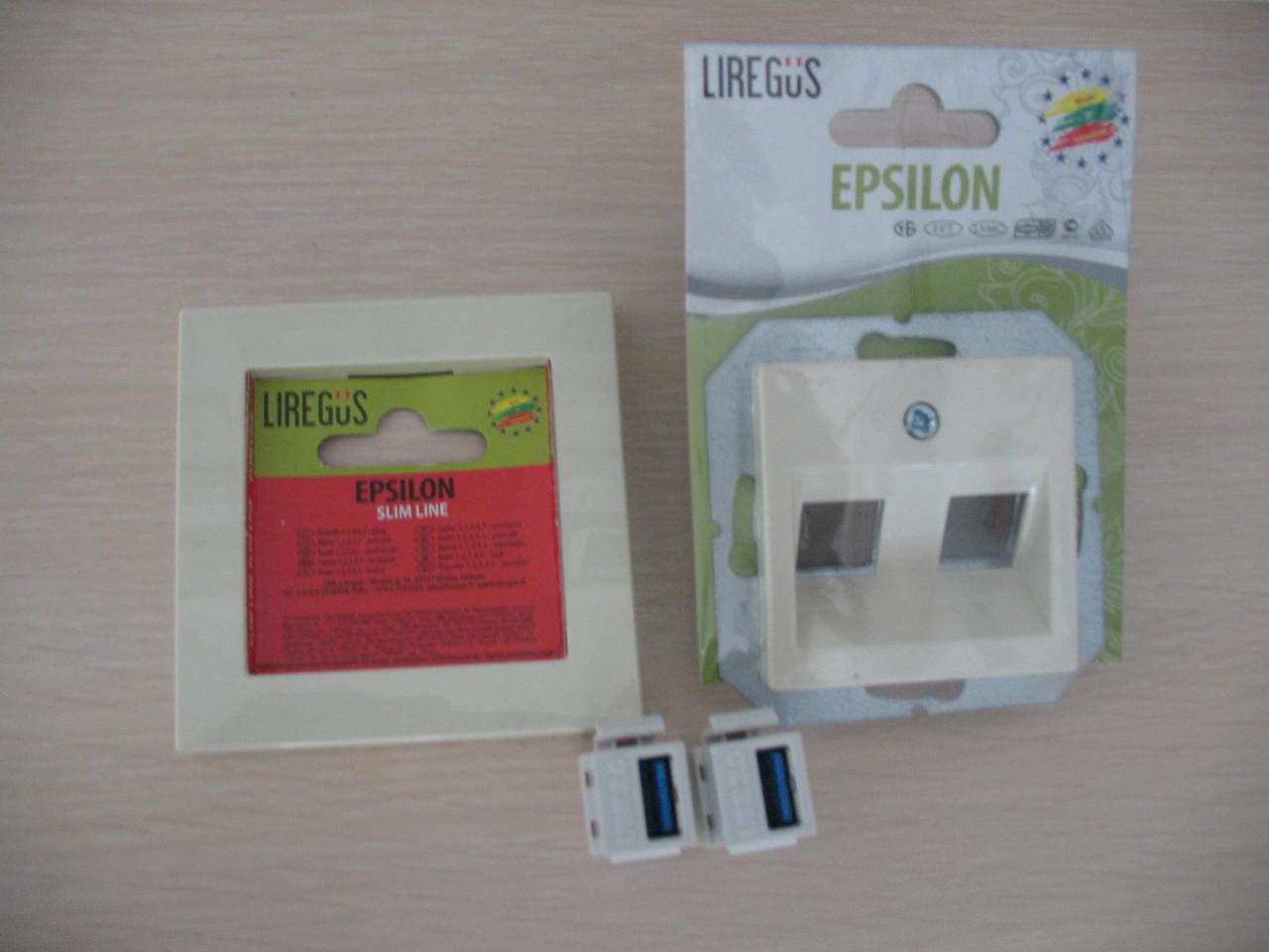 Розетка HDMI+USB, слоновая кость, Epsilon