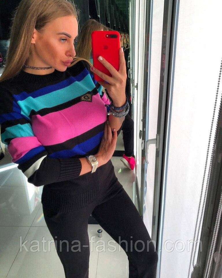 Женский стильный вязаный костюм: пуловер/свитер и брюки (4 цвета)