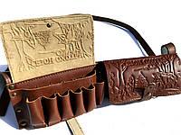 Патронташ нагрудный кожаный двухрядный на 24 патр. (для 12,16 к).