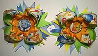 """Многослойные """"американские"""" бантики на резинке """"Фиксики"""" цвет салатовый+оранжевый"""