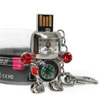 Флешка 8 Gb металл Робот с часами и компасом