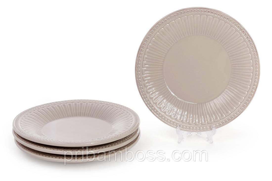 Тарілка салатна керамічна 20.2 см, колір - бежевий 4 шт