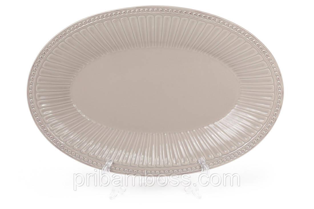 Блюдо керамическое овальное 33.8см, цвет - бежевый