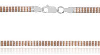Серебряная цепь плоская лента 925 с позолотой 585