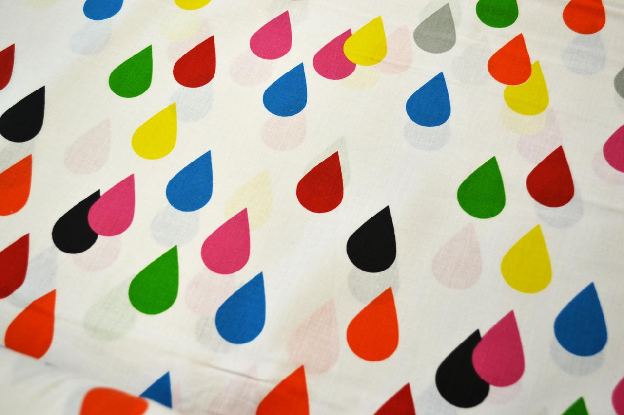 """Польская хлопковая ткань """"капли разноцветные на белом"""""""