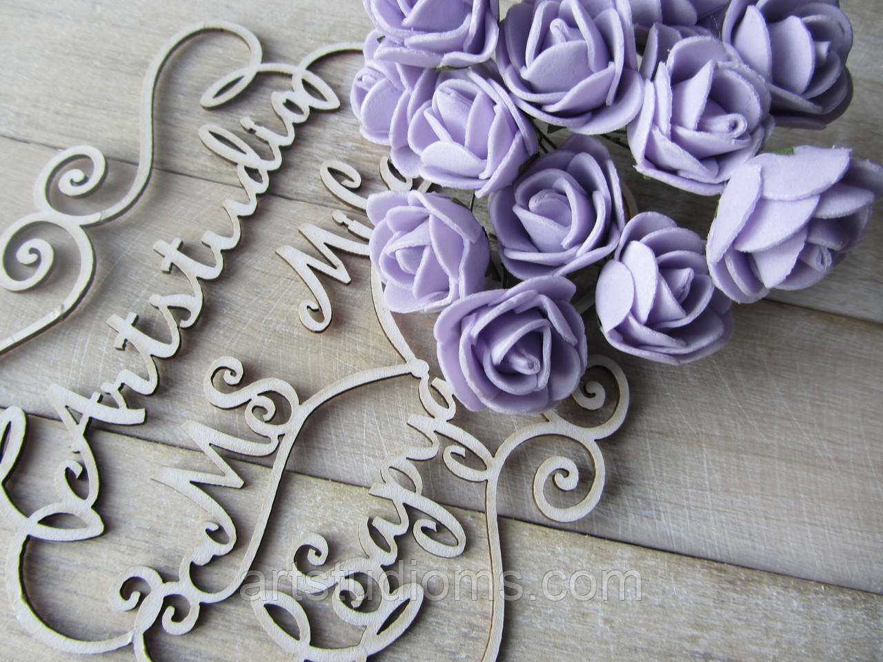 "Цветок ""Роза"" (букет - 3шт), цвет сиреневый"