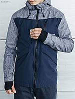 Демисезонная мужская куртка, осенняя Staff first navy синяя, молодежная, удлиненная с капюшоном, осень-весна