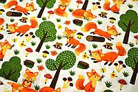 """Польская хлопковая ткань """"лисички с деревьями на белом"""""""
