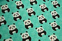 """Польская хлопковая ткань """"панды на бирюзовом"""""""