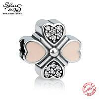 """Серебряная подвеска шарм Пандора (Pandora) """"Розовые сердца 1951"""" для браслета бусина"""
