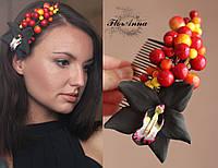 """Гребень для волос """"Чёрная орхидея с ягодами"""". Украшения из полимерной глины, фото 1"""