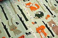 """Польская хлопковая ткань """"лисички, мишки в лесу на светло-мятном"""""""
