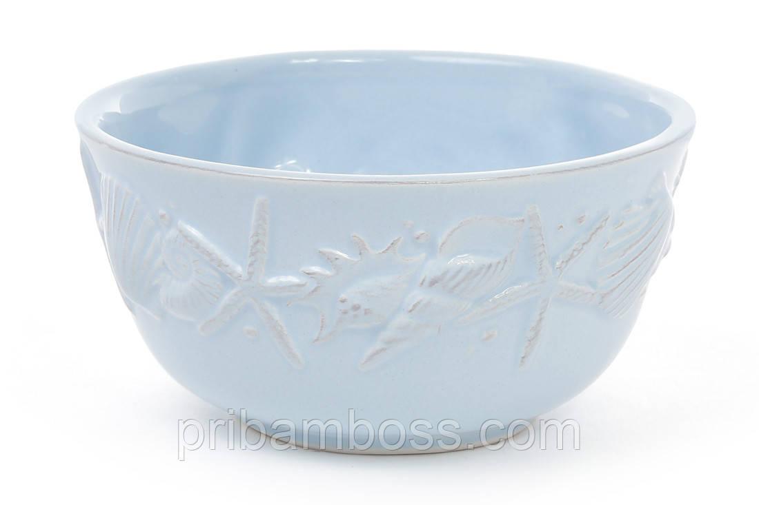 Пиала керамическая 550мл Морские мотивы, цвет - светло-голубой 4 шт.