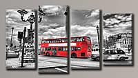 """Модульная картина на холсте из 4-х частей """"Лондонский автобус"""""""