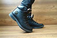 Мужские кожаные зимние ботинки Shark черные 10405