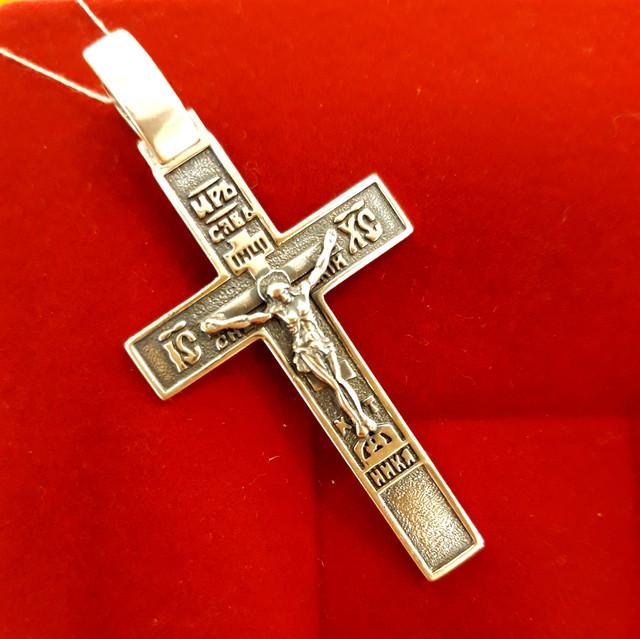 Крест мужской серебро фото