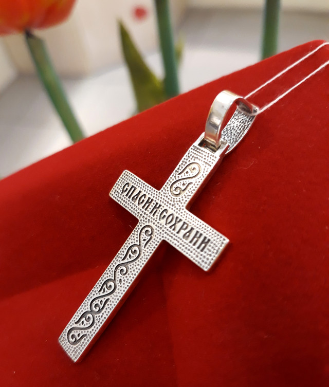 Крест мужской серебро фото 3