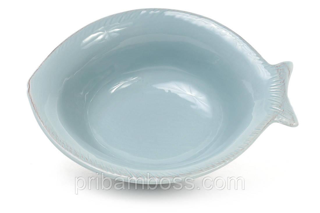 Пиала керамическая в форме рыбы, цвет - бирюза 4 шт.