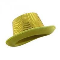 Шляпа Цилиндр с пайетками желтая