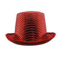 Шляпа Цилиндр с пайетками красная