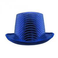 Шляпа Цилиндр с пайетками синяя