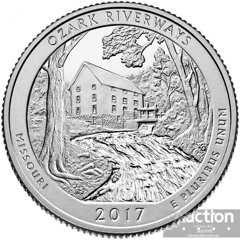 25 центов 2017 США ОЗАРК РИВЕРВЕЙС штат МИССУРИ 38 парк