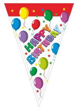 "Гирлянда вымпелы ""Happy Birthday"". Длина: 2,5 метра."